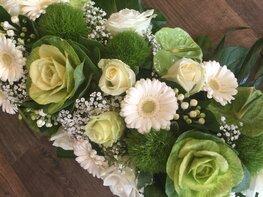 Kiststuk witte en groene tinten 80cm