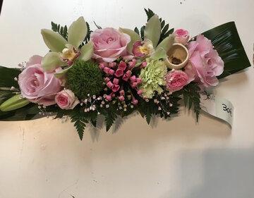 bloemstukje roze tinten