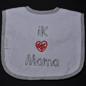 slabbetjes met standaard tekst: Ik (hartje) mama