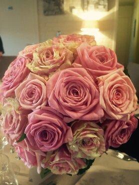 Bruidsboeket roze tinten