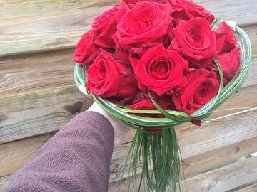 Bruidsboeket rode rozen