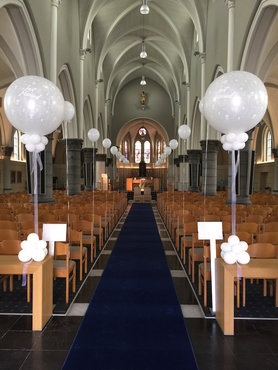Kerkdecoratie reuzeballon just married