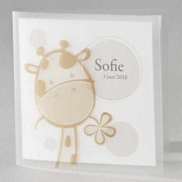 Giraf bruin geboortekaartje