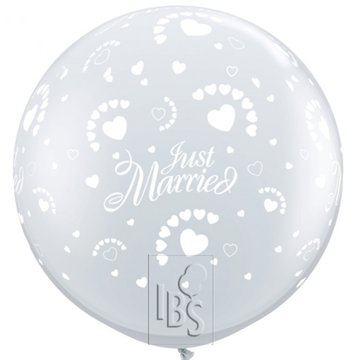 Latexballon just married hearts doorzichtig - 36 inch = 90cm