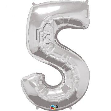 Folieballon cijfer 5 zilver - 34 inch = 87cm