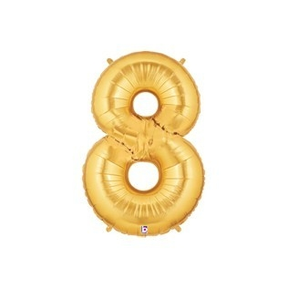 Folieballon cijfer 8 goud - 34 inch = 86cm