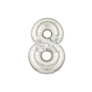 Folieballon cijfer 8 - zilver - 35cm