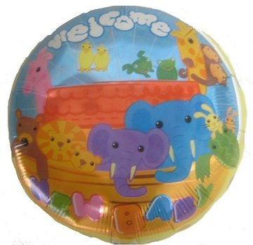 Folieballon welcome baby 18 inch = 46cm langs 1kant bedrukt