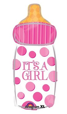 Folieballon Its a girl baby bottle 23inch - 58cm