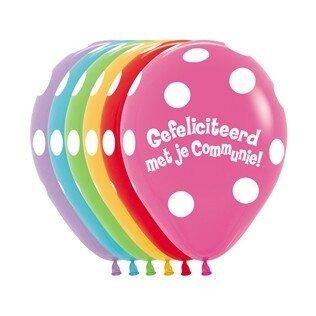 A/ballon 12 inch(30cm) met tekst gefeliciteerd met je communie