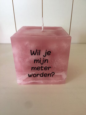 Kaars cube oudroze 9,5 x 9,5 x 9,5cm