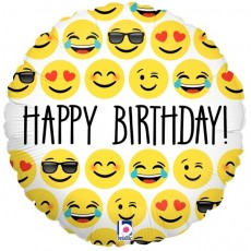 1- folieballon emoji Birthday 18 inch = 46cm dubbelzijdig bedrukt