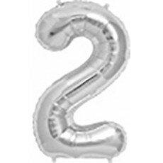 Folieballon cijfer 2 zilver - 34 inch = 87cm