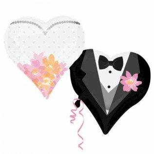 Wedding couple heart 25 inch = 63cm dubbelzijdig bedrukt