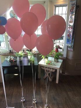 Latexballon 30cm gevuld met helium + houdbaarheidsgel - babyroze