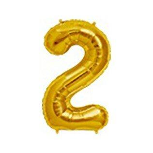 Folieballon cijfer 2 goud - 34 inch = 87cm