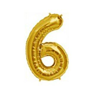 Folieballon cijfer 6 goud - 34 inch = 87cm
