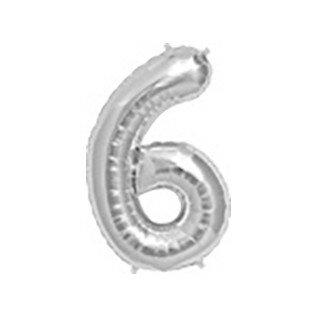 Folieballon cijfer 6 zilver - 34 inch = 87cm