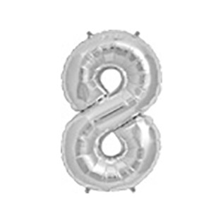 Folieballon cijfer 8 zilver - 34 inch = 86cm