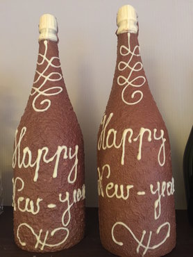 Champagnefles deluxe in chocolade Happy New Year