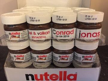 Nutella potjes 25gr. met gepersonaliseerde sticker met naam