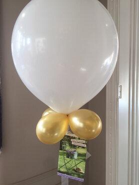 Ballon 45cm wit met goud