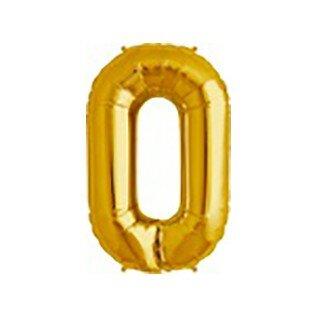Folieballon cijfer 0 goud - 34 inch = 87cm