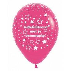 Ballon 30cm communie sterretjes - Fuchsia