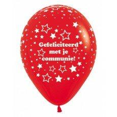 Ballon 30cm communie sterretjes - Rood