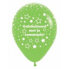 Ballon 30cm communie sterretjes - Groen