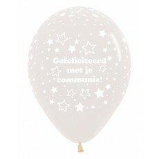 Ballon 30cm communie sterretjes - Doorzichtig