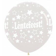 Ballon 90cm lentefeest sterretjes - Doorzichtig