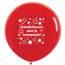 Ballon 90cm communie sterretjes - Rood