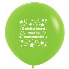 Ballon 90cm communie sterretjes - Groen