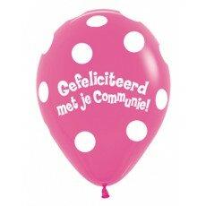Ballon 30cm communie Polka Dots - Fuchsia