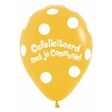 Ballon 30cm communie Polka Dots - Geel
