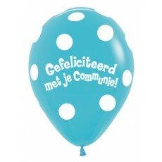 Ballon 30cm communie Polka Dots - Blauw