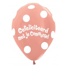 Ballon 30cm communie Polka Dots - Rose Gold