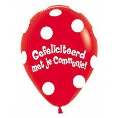 Ballon 45cm communie Polka Dots - Rood