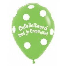 Ballon 45cm communie Polka Dots - Groen