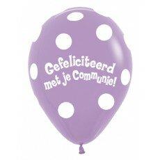 Ballon 45cm communie Polka Dots - Paars