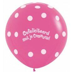 Ballon 90cm communie polka dots - Fuchsia