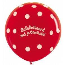 Ballon 90cm communie polka dots - Rood