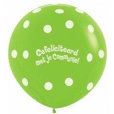 Ballon 90cm communie polka dots - Groen
