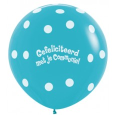 Ballon 90cm communie polka dots - Blauw