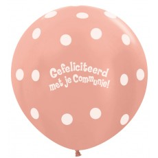 Ballon 90cm communie polka dots - Rose Gold
