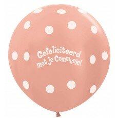 Ballon 90cm communie polka dots - Rose Gold