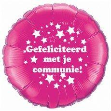 Folieballon 45cm communie sterretjes - Fuchsia