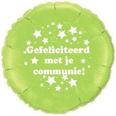 Folieballon 45cm communie sterretjes - Groen