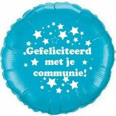 Folieballon 45cm communie sterretjes - Blauw